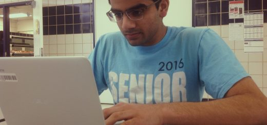 Senior Varoon Kumar uses his Chromebook and iPad for school use. He is among the few students testing the Chromebooks.