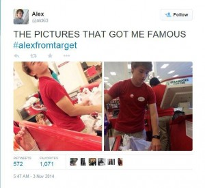 Alex Lee can owe his overnight fame to these photos taken of him while he was bagging groceries at his job at Target.