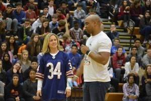 Spizzirri, the Cultural Awareness Club sponsor welcomes her friend Jarrett Payton.