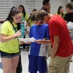 Annie Rosas helps incoming freshmen find their classrooms.