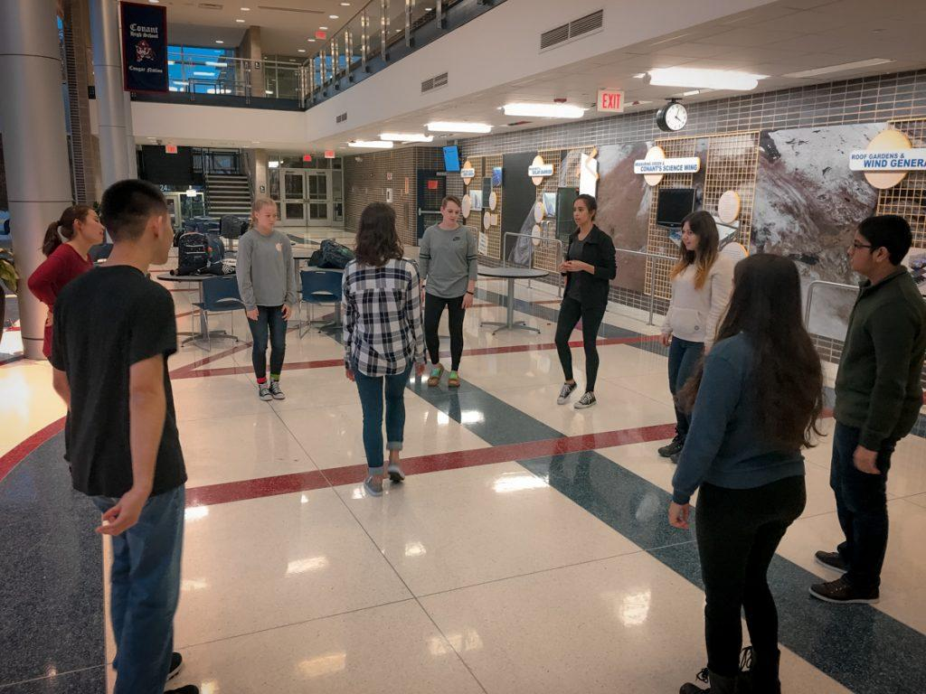 On November 30, Operation Snowball, a club that steers students away from drugs towards a positive environment, held a promotional event to gather members for the 2017 retreat. At the start of the event, the new and existing members gathered in the atrium for a positive group activity with leader Tricia Nicholson, '17, in the middle.